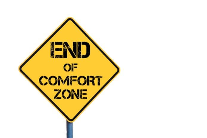 Yellow roadsign with End Of Comfort Zone message