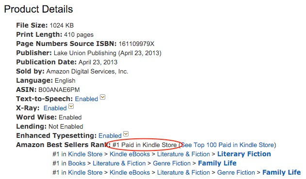 amazon kindle book ranking